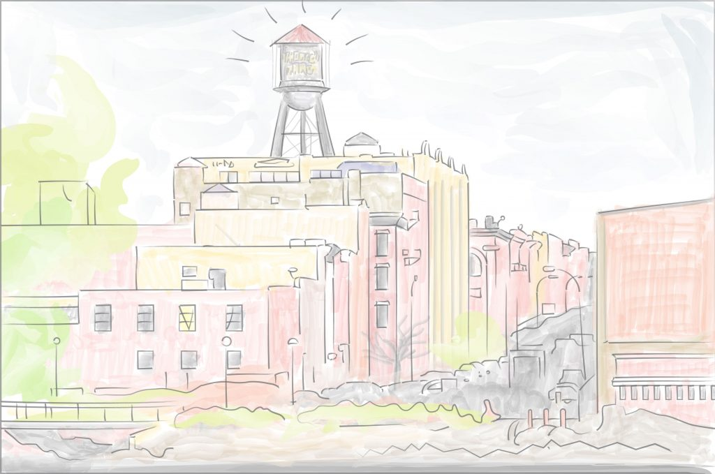 Iconic Greenpoint water tower illustration over the East River by graphic artist and designer Joel Cocks, based in Berlin.